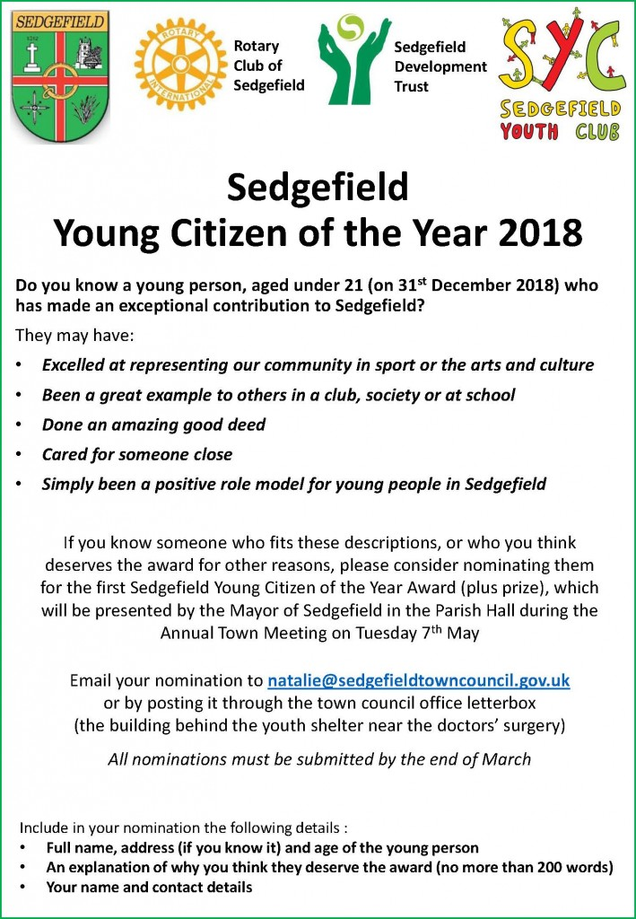 Sedgefield Young Citizen of the Year flyer