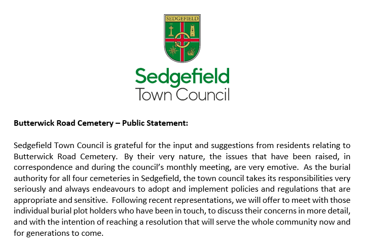 Butterwick Road Cemetery Public Statement