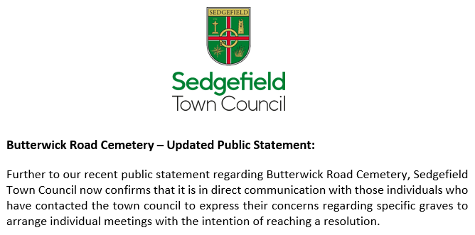 Butterwick Road Cemetery Updated Public Statement