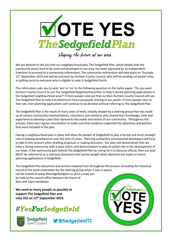 THE SEDGEFIELD PLAN - Say YES(1)