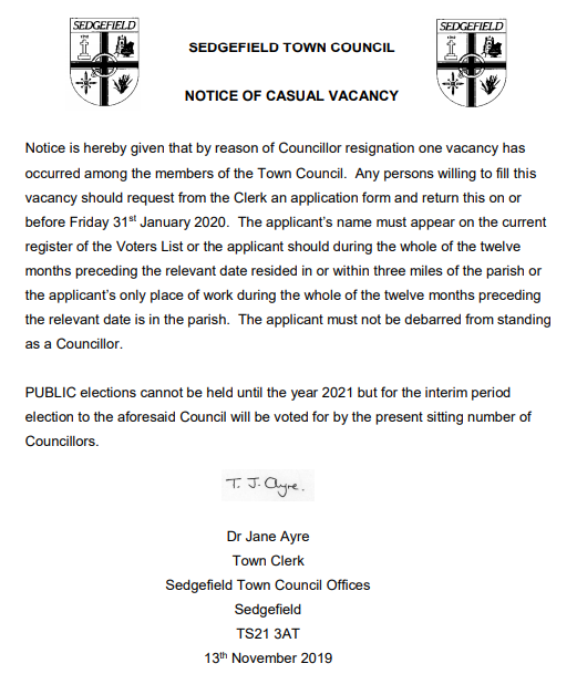 STC Councillor Co-option Notice 13th November 2019