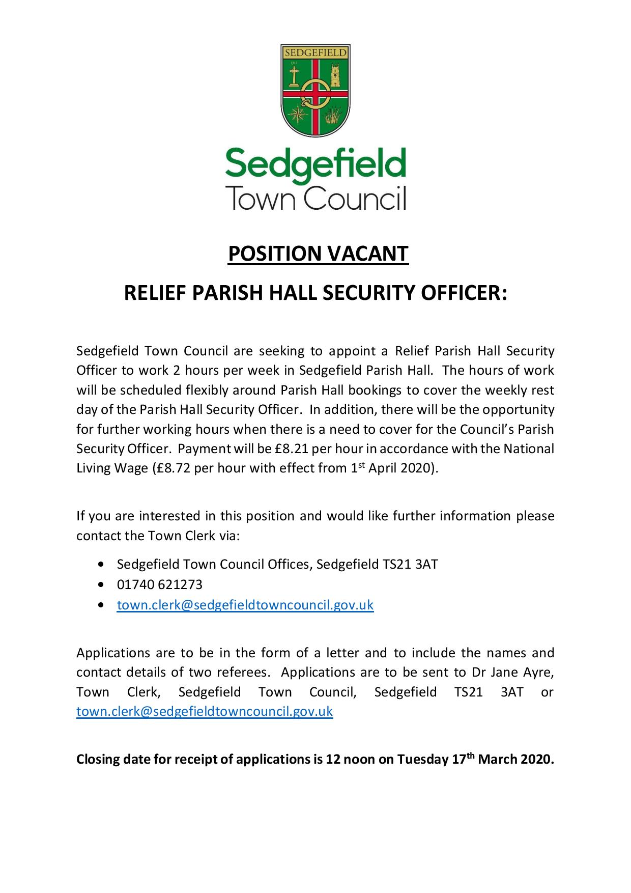 Parish Hall Security Officer Relief advert 17 02 2020-page-001