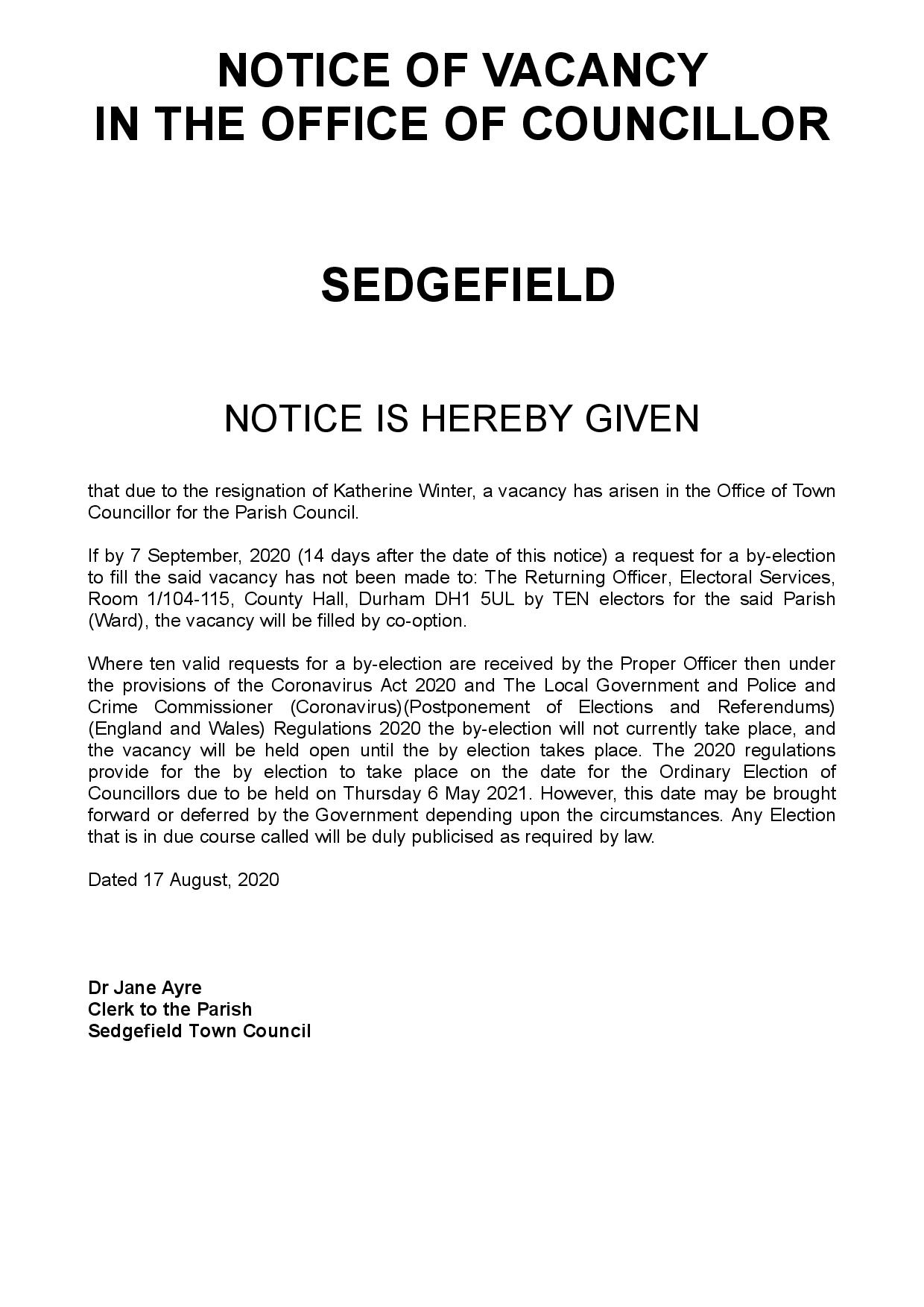 Notice of Vacancy - Sedgefield Town Council - dated 17 August 2020-page-001
