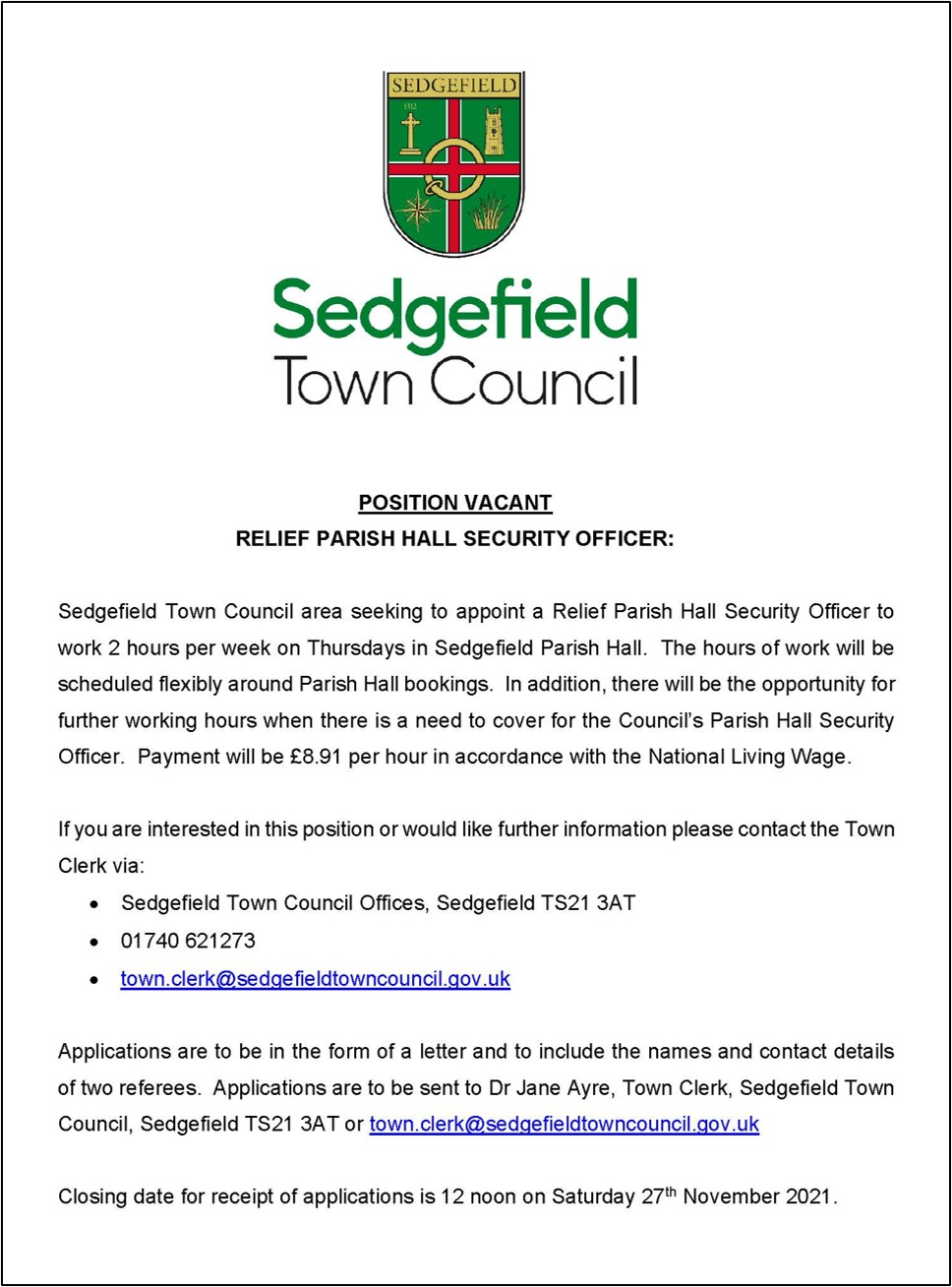 Relief Parish Hall Security Officer Advert 27 09 21